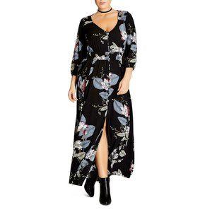 City Chic Blossom Floral V-Neck Maxi Dress Plus